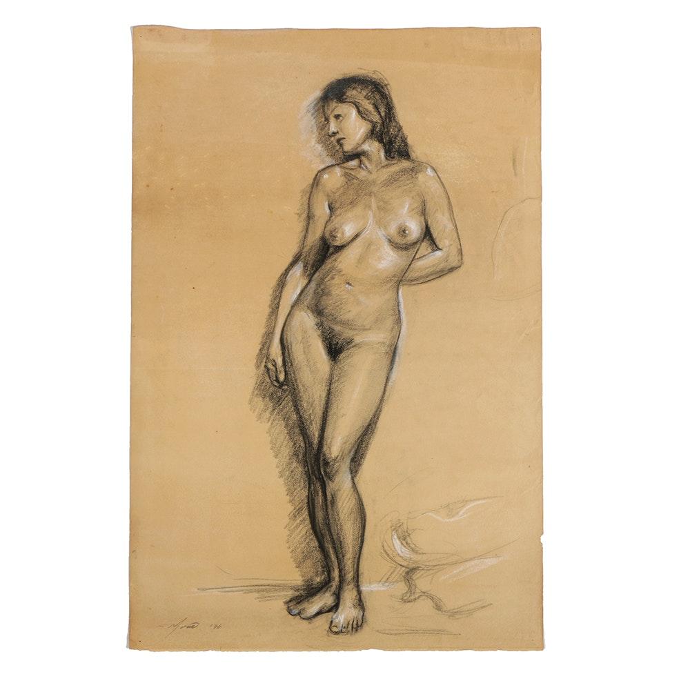 "Ricardo Morin Charcoal Drawing on Paper ""Cheektowaga 2"""