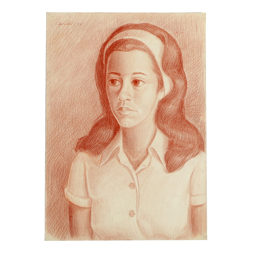 "Ricardo Morin Sanguine Portrait on Paper ""Teenager2"""