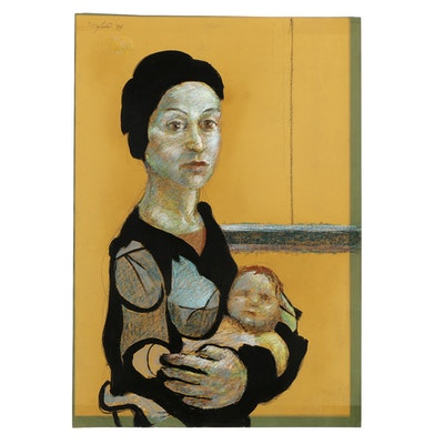 """Ricardo Morin Ink and Pastel Drawing on Paper """"Maternity"""""""