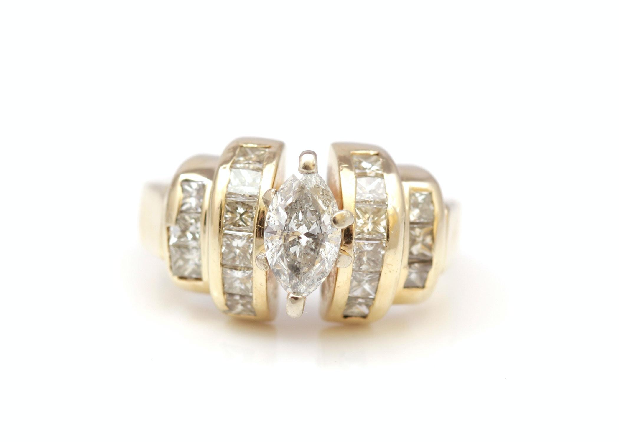 14K Yellow Gold 1.70 CTW Diamond Ring