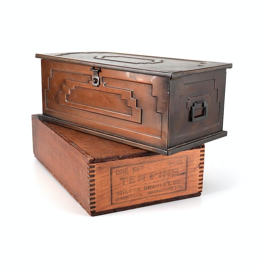 Decorative Storage Boxes Vintage : Pair of vintage decorative storage boxes ebth