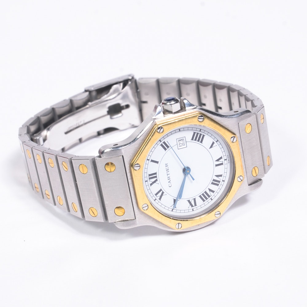 Men's Cartier Santos 18K Gold and Stainless Watch