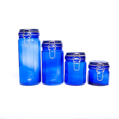 Blue glass canisters set of three ebth - Blue glass kitchen canisters ...