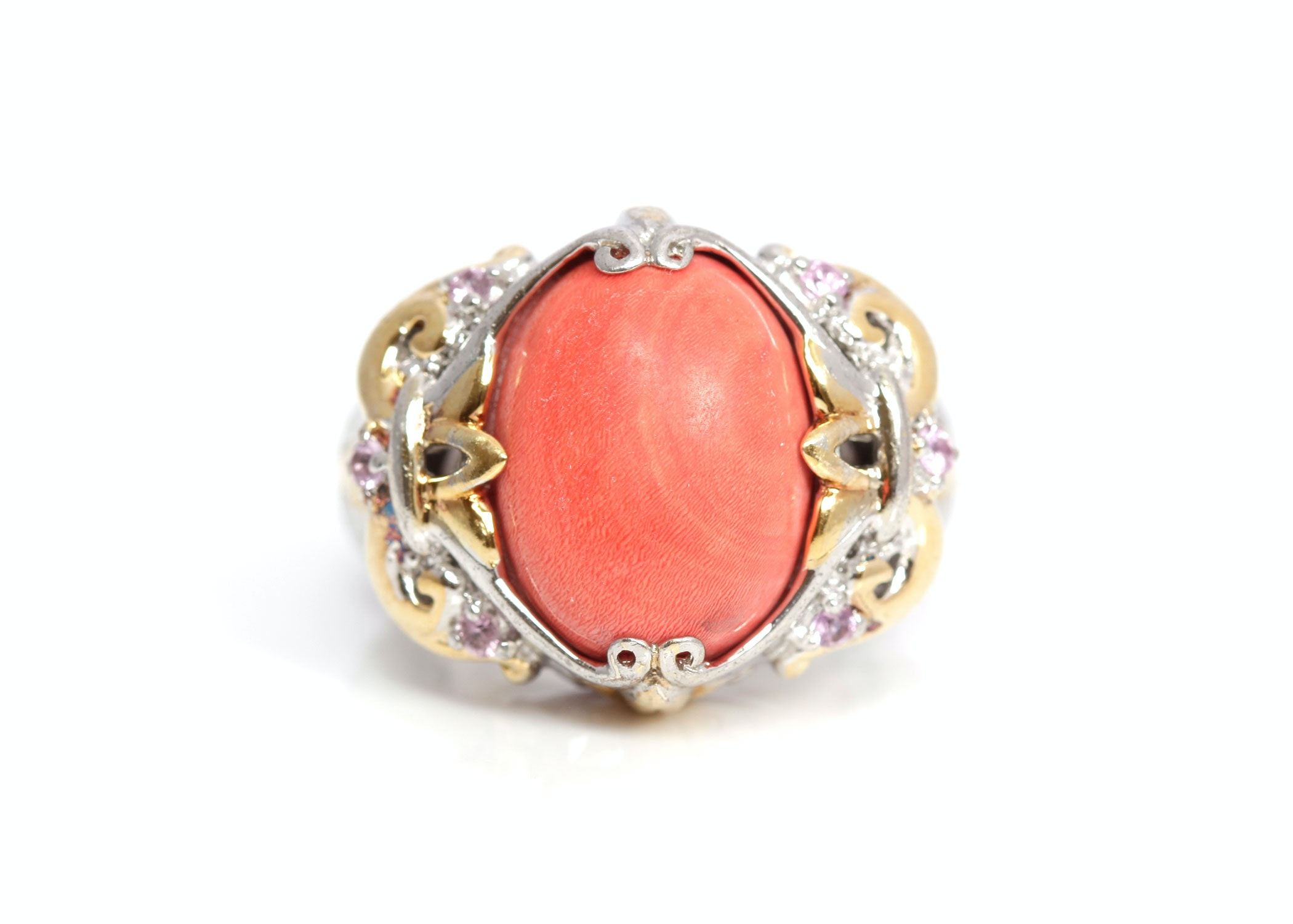 sterling silver coral and pink quartz ring ebth
