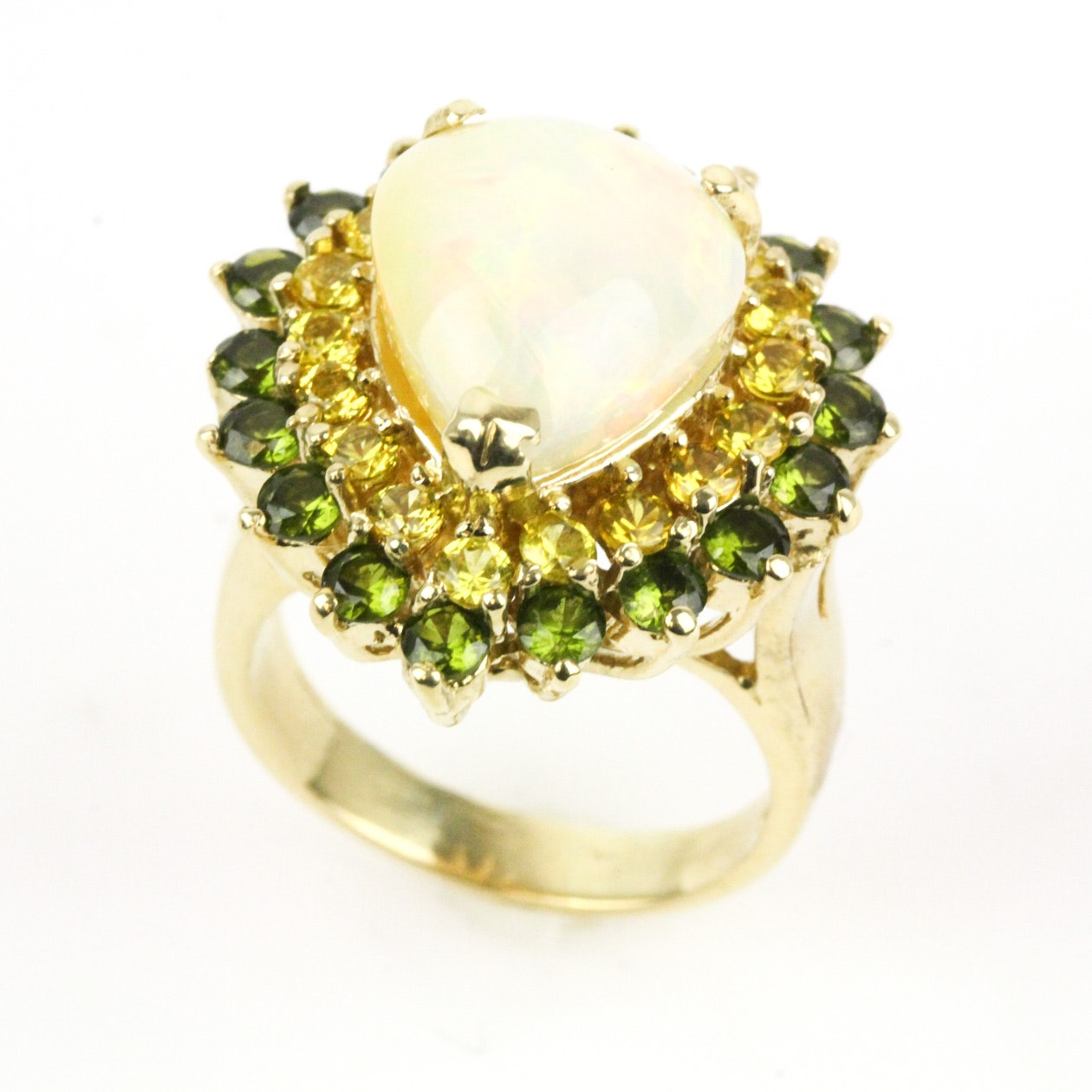 14K Yellow Gold, Opal, Yellow Sapphire, and Green Spinel Statement Ring