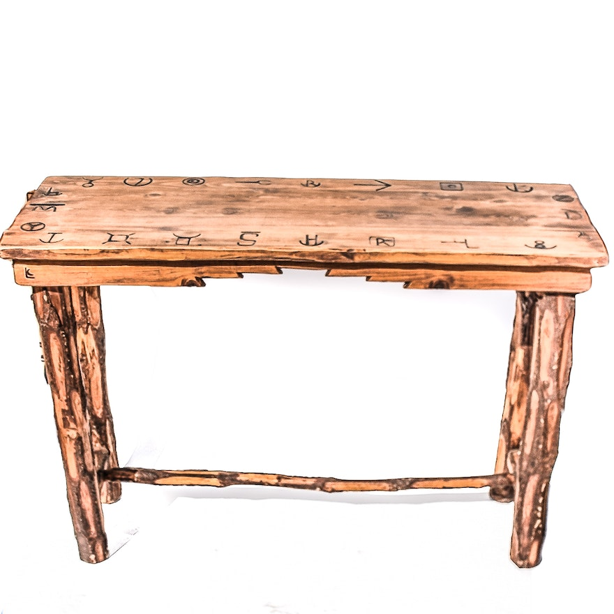 Carved Rustic Pine Console Table : EBTH