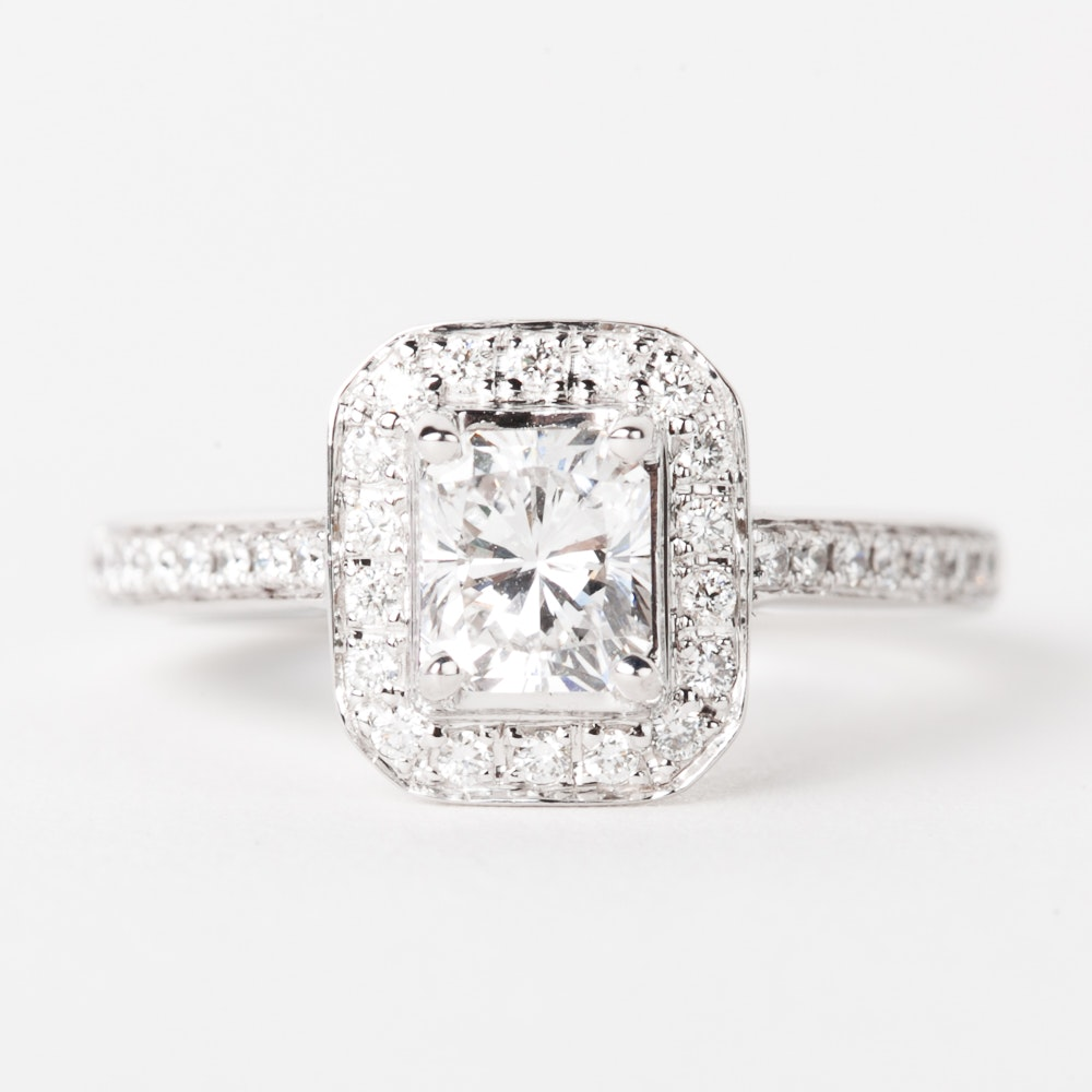14K White Gold and 1.90 CTW Diamond Halo Engagement Ring