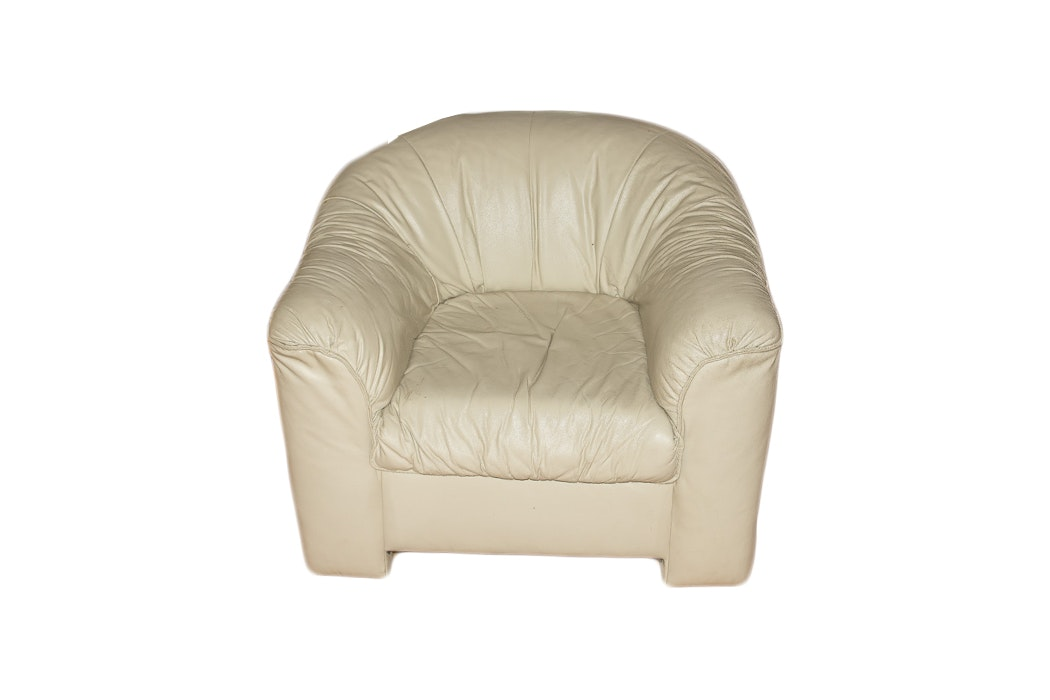 Cream-Colored Leather Armchair