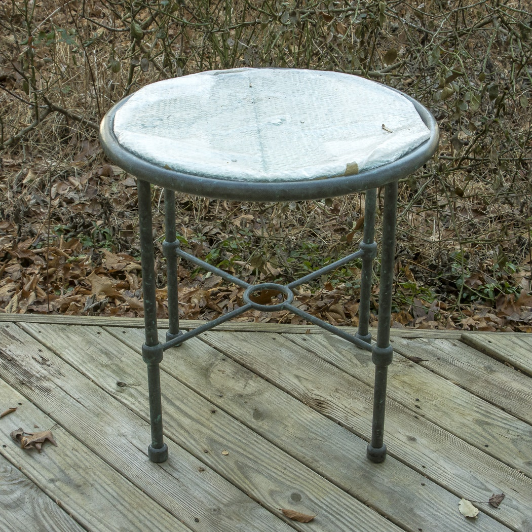 Glass Top Patio Side Table