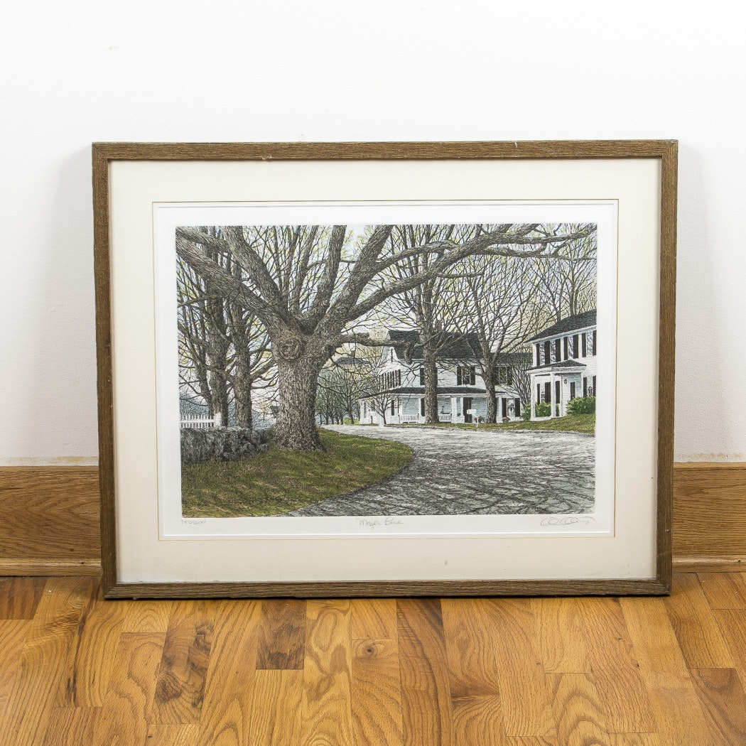 "Carol Collette Aquatint Etching ""Maple Lane"""