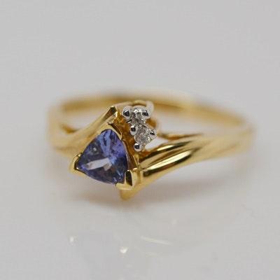 14k yellow gold trillion tanzanite and ring ebth
