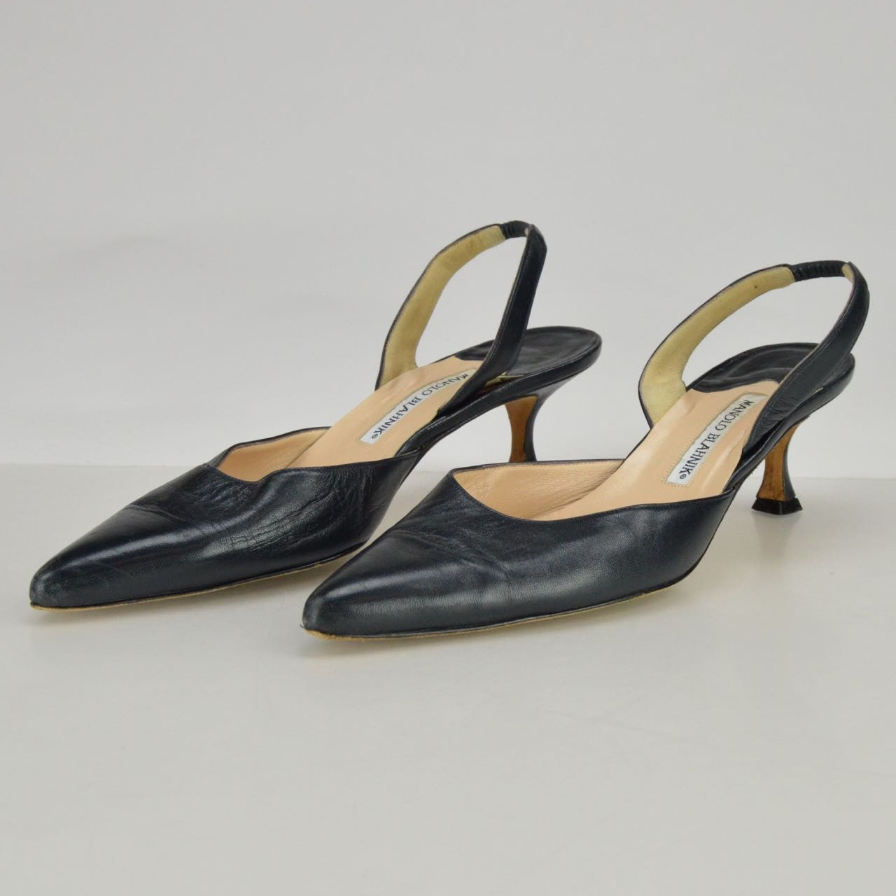Manolo Blahnik Kitten Heel Navy Leather Slingbacks : EBTH