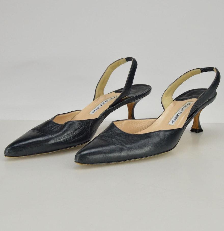 Manolo Blahnik Kitten Heel Navy Leather Slingbacks : EBTH