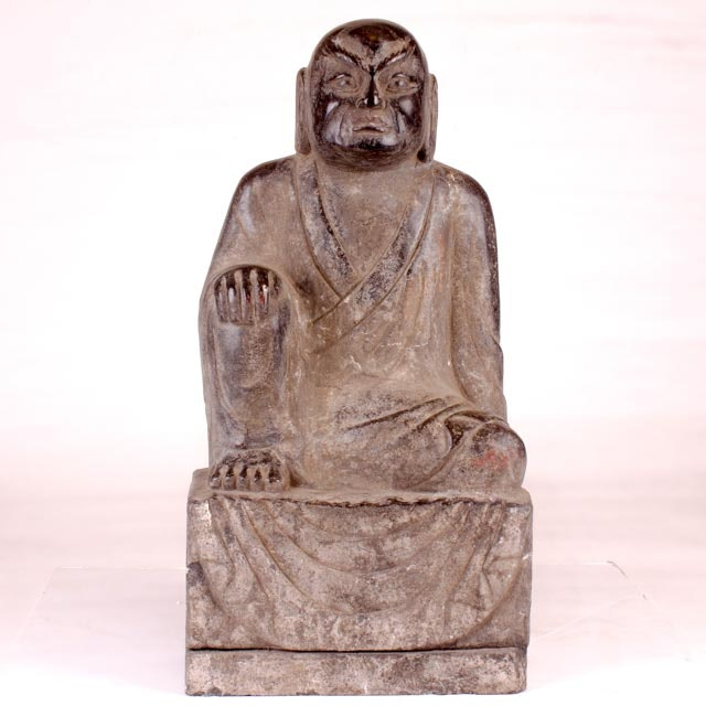 Large Early 20th Century Chinese Black Marble Buddha Sculpture