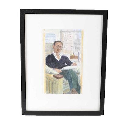 "Ricardo Morin Watercolor Painting on Paper ""Self-Portrait"""