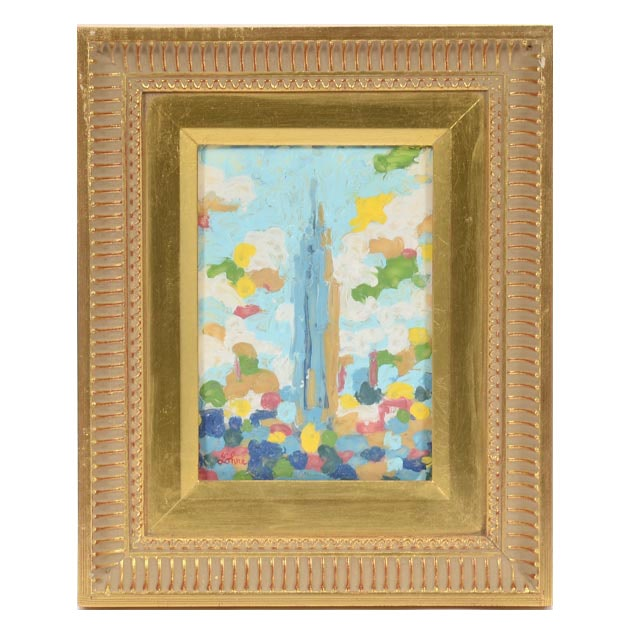 "Tom Lohre Melted Oil Pastel Painting on Acrylic Glass ""Empire State Building III"""