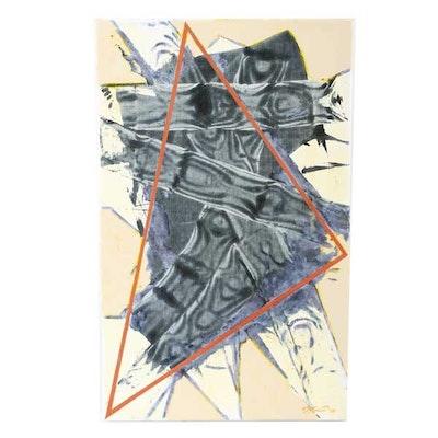 "Ricardo Morin Oil Painting on Linen ""Triangulation 32"""