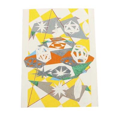 "Ricardo Morin Body Color and Graphite on Paper ""Platonic Triangulation"""