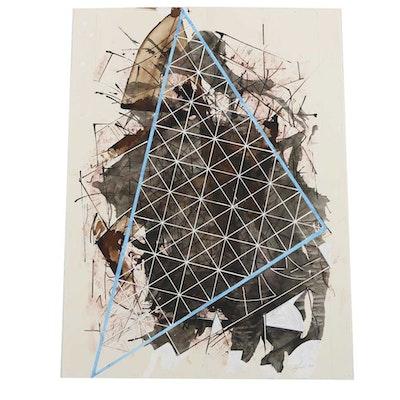 "Ricardo Morin Oil Painting on Paper ""Triangulation 36"""