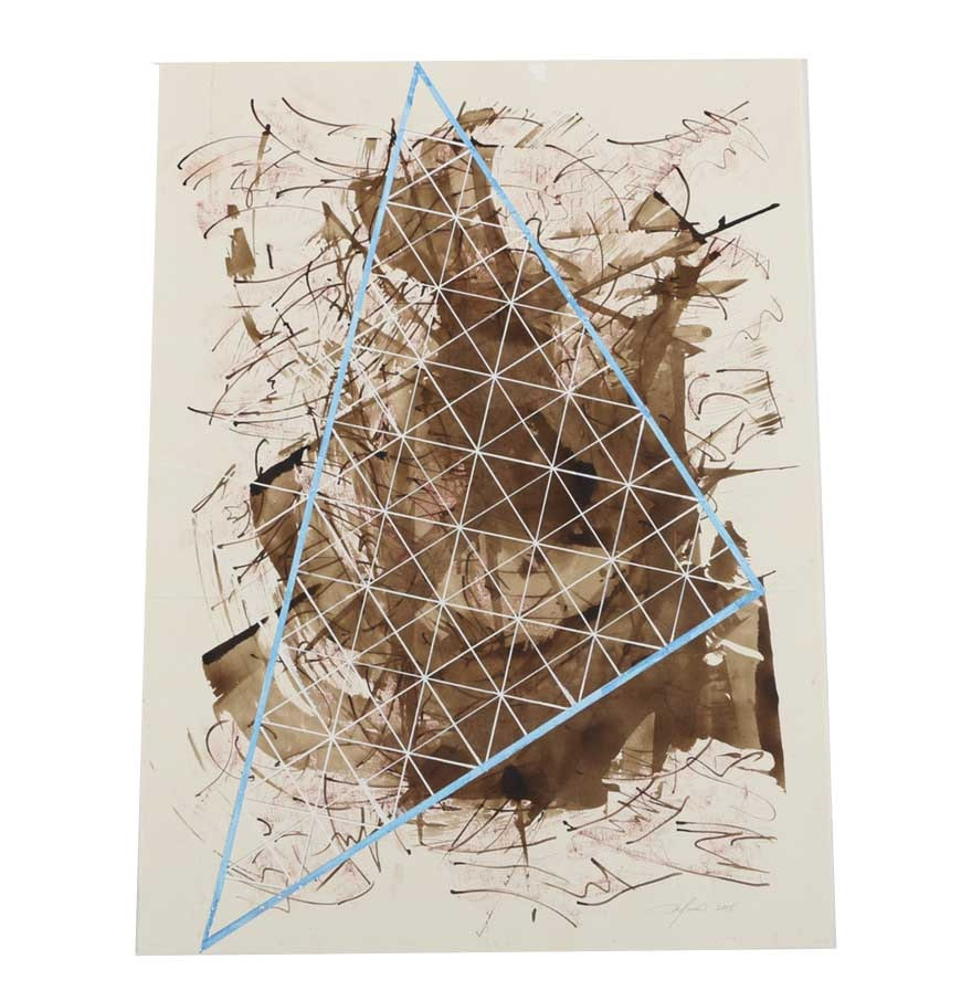 "Ricardo Morin Mixed Media Painting on Paper ""Triangulation 37"""