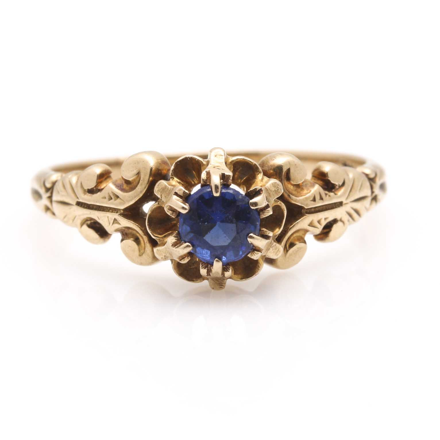 14K Yellow Gold Spinel, Garnet and Glass Triplet Ring