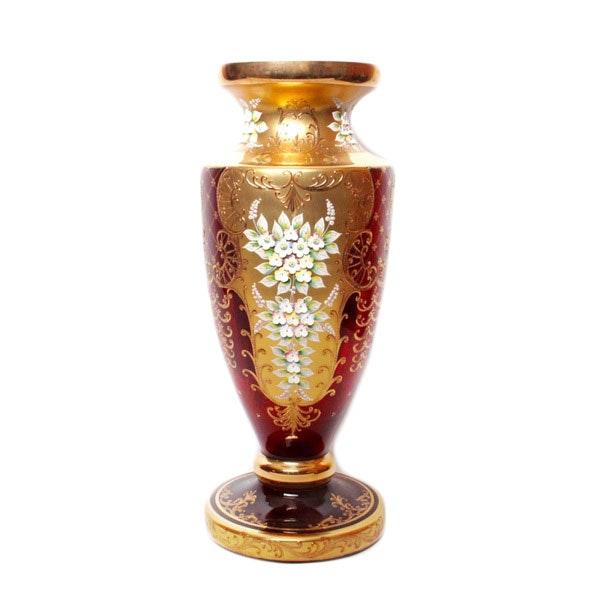 Cranberry Moser Style Bohemian Vase