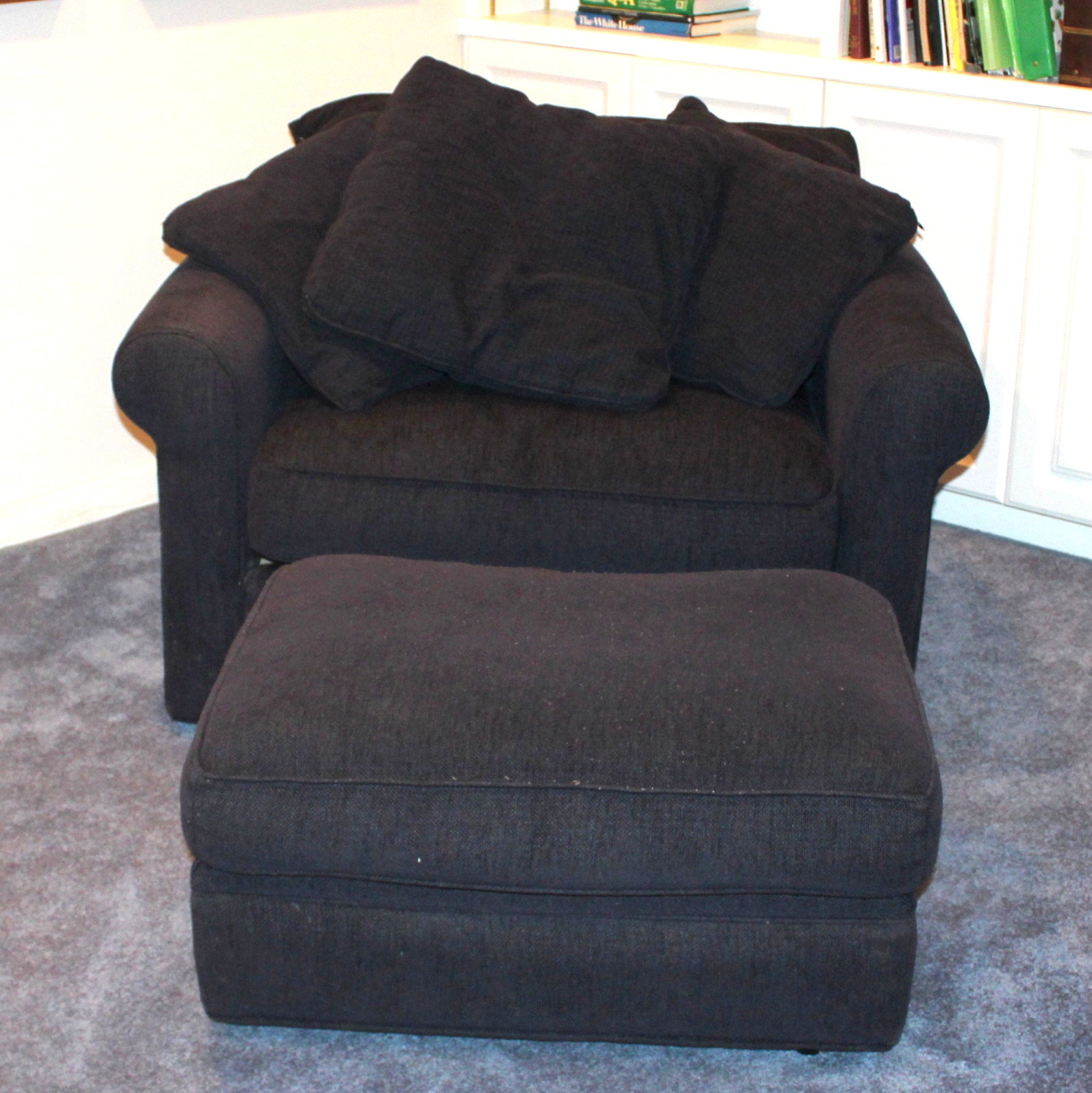 Contemporary Chair-and-a-Half With Ottoman