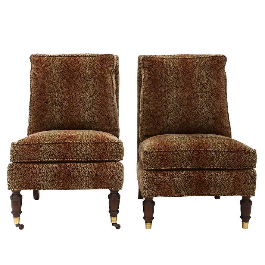 Pair of Leopard Print Upholstered Armless Side Chairs Susan had in Her Studio Dressing Room in Los Angeles
