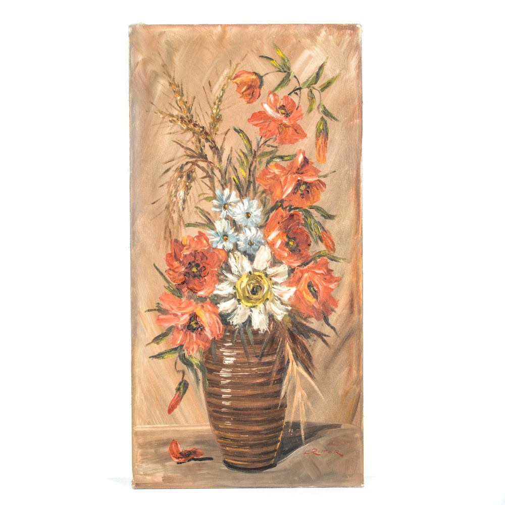 L. Ritter Oil on Canvas Floral Still Life