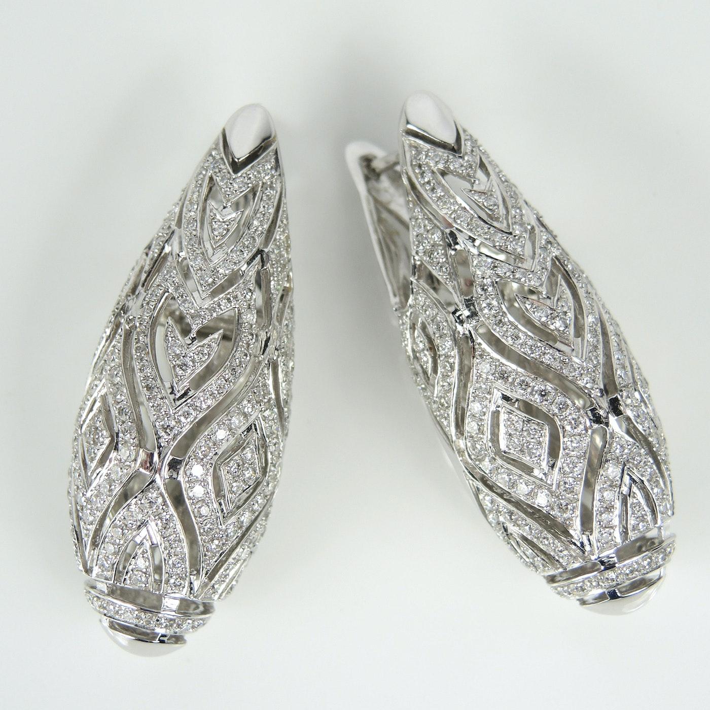 14K White Gold Diamond Encrusted Earrings | EBTH