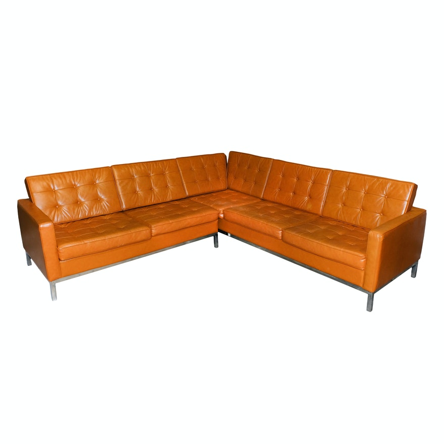 Vintage Leather And Chrome Sectional Sofa