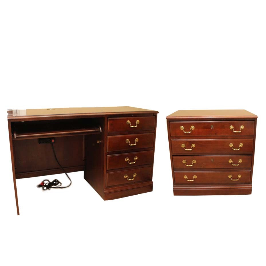 Hooker Cherry Desk and File Cabinet