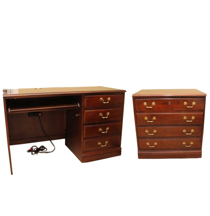 Cherry File Cabinets Hooker Cherry Desk And File Cabinet Ebth