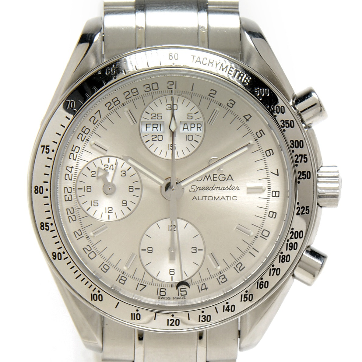 Men's Omega Speedmaster Triple Calendar Silver Chronograph Steel Automatic Wristwatch