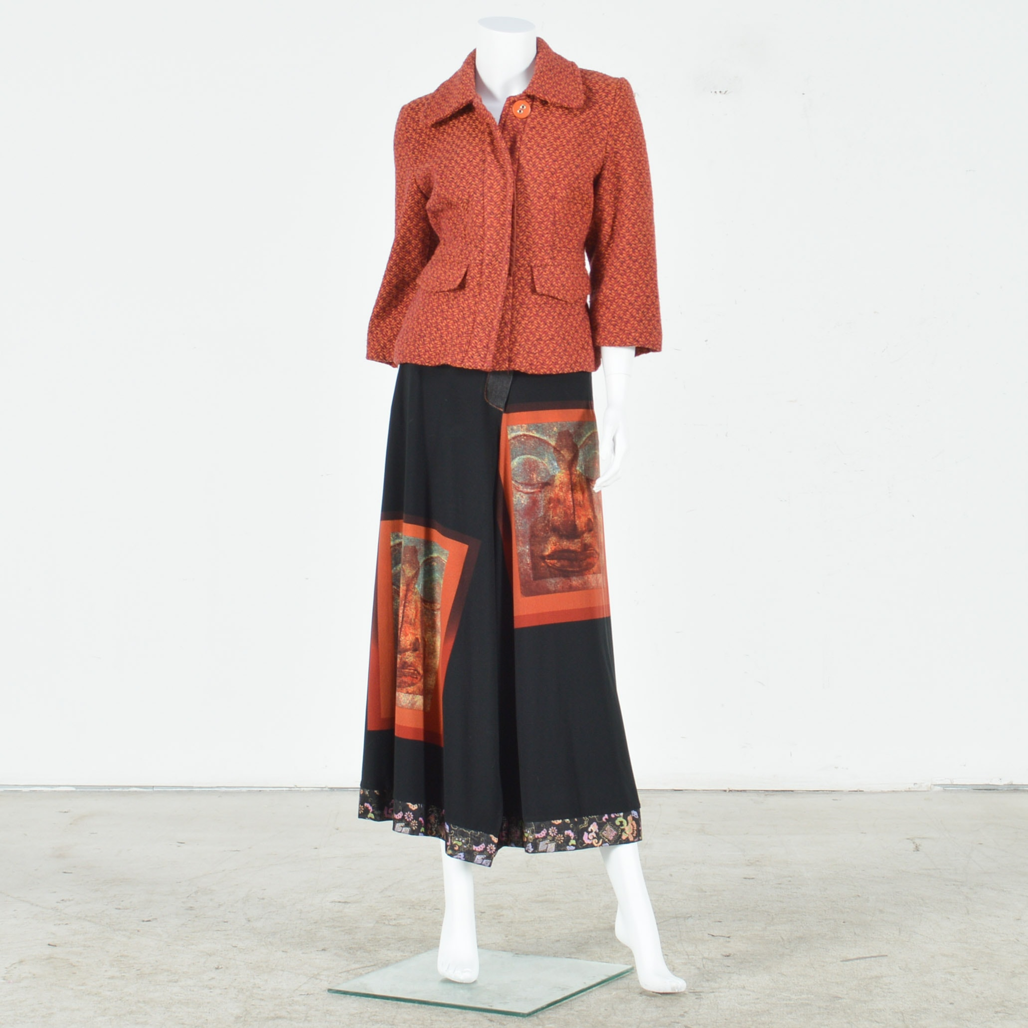 Women's Bohemian Mixed Media Skirt with Coordinating Boucle Jacket