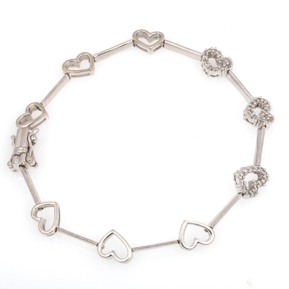 10K White Gold 0.50 CTW Diamond Bracelet