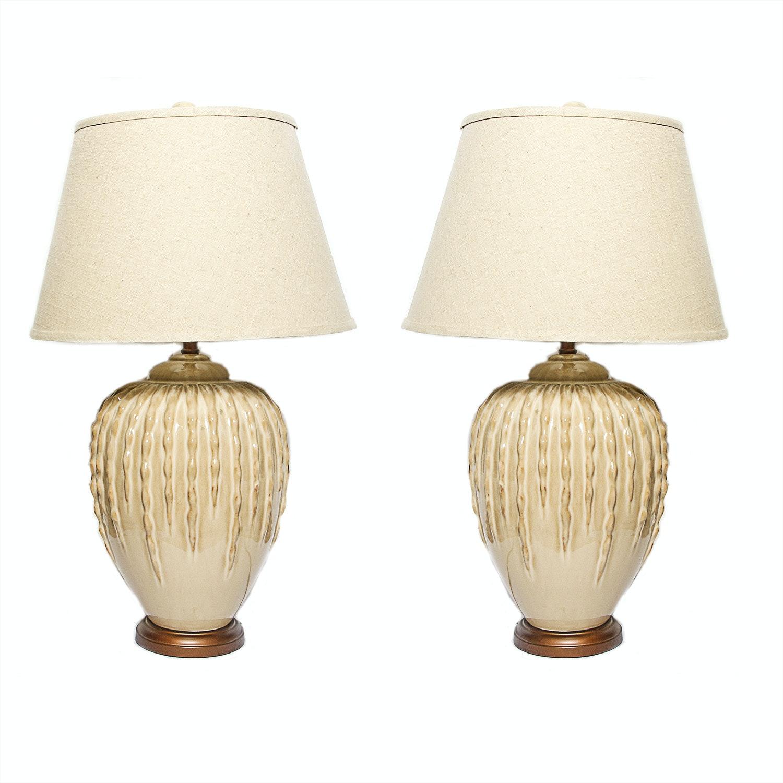 Pair Of Oversize Cream Ceramic Table Lamps Ebth