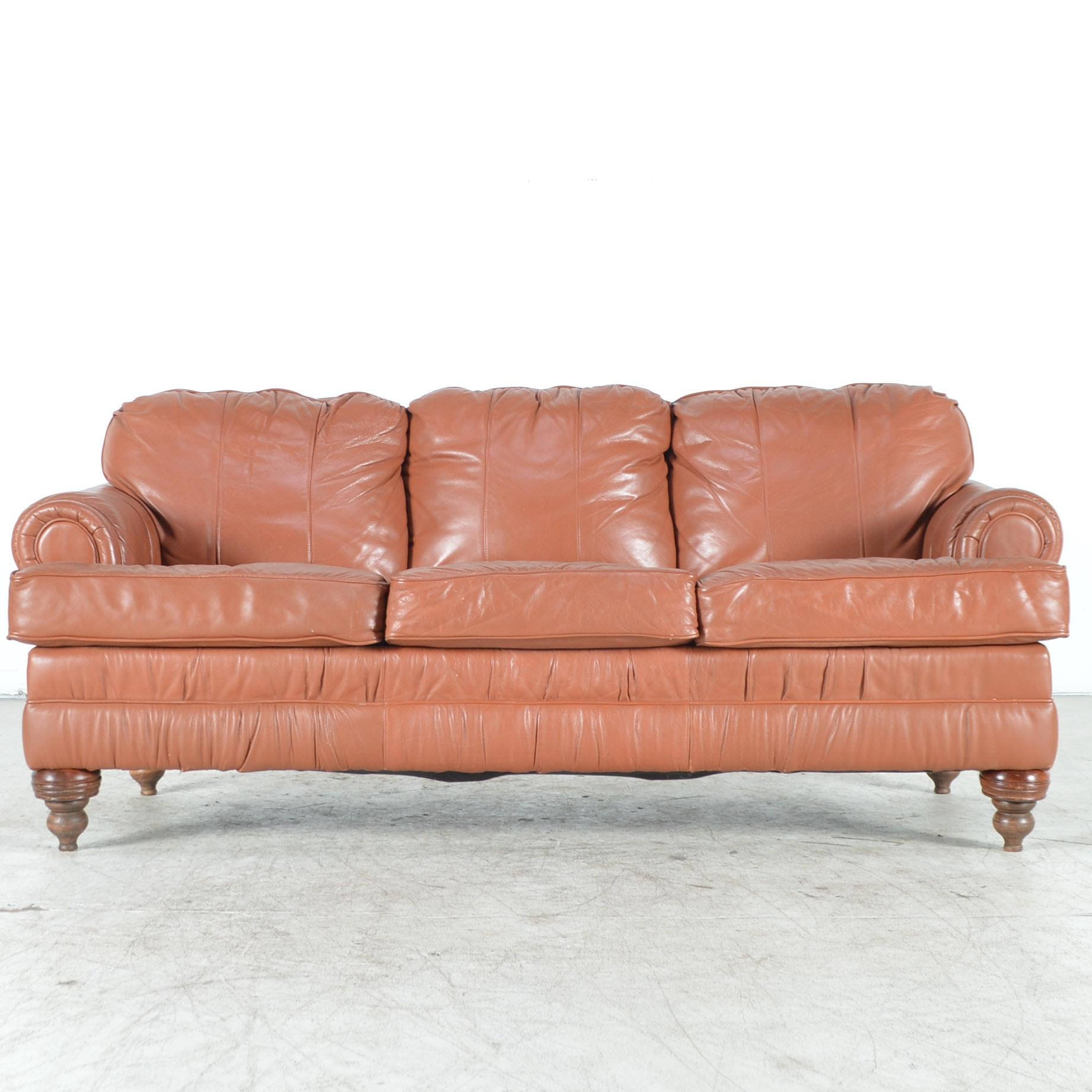Saddle Tan Leather Sofa