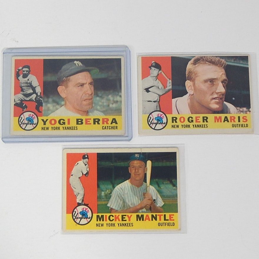 1960 Topps Mickey Mantle Yogi Berra Roger Maris Cards