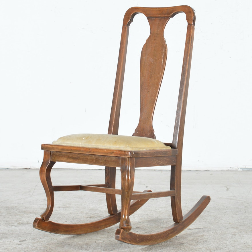 Peachy Vintage Queen Anne Style Rocking Chair Gamerscity Chair Design For Home Gamerscityorg