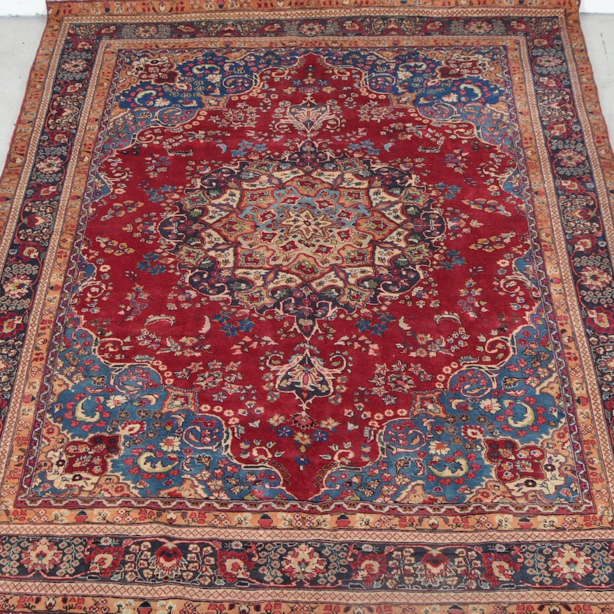 Hand Knotted Persian Wool Area Rug Ebth: Hand Knotted Persian Ghom Area Rug
