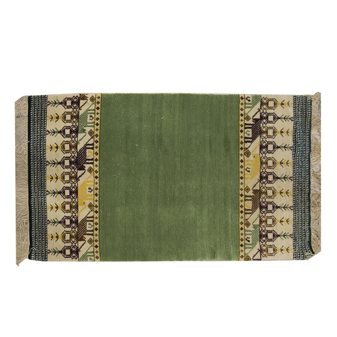 Hand-Knotted Gabbeh-Style Accent Rug with Elephant Motif