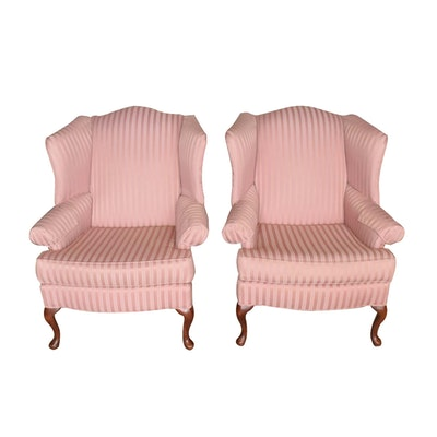Pair of red and white checkered upholstered wing back for Red and white upholstered chairs