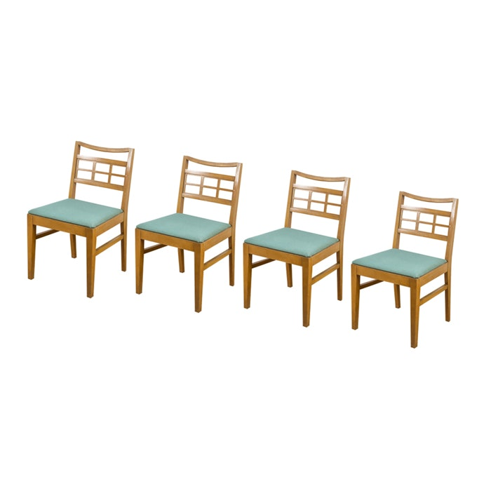 Craftsman Style Green Upholstered Dining Chairs