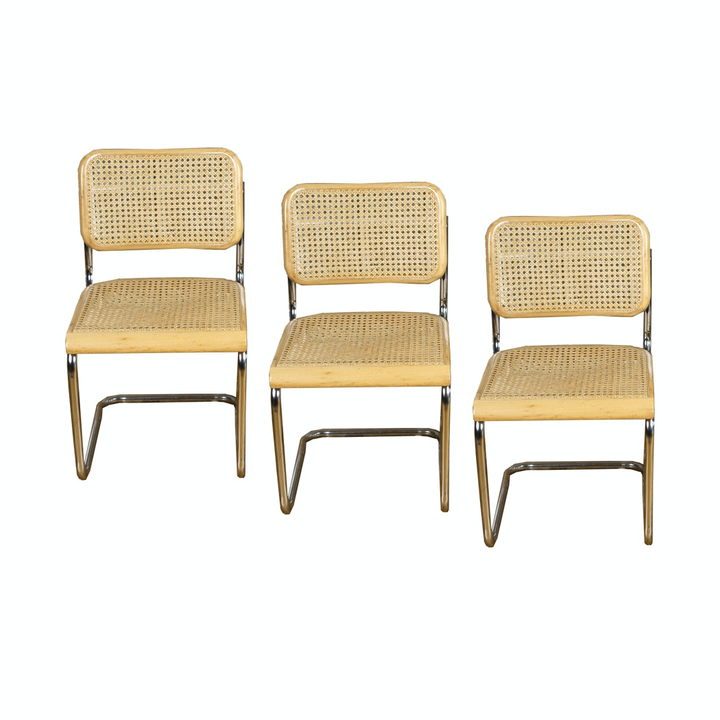 """Cesca"" Caned Cantilever Dining Chairs After Marcel Breuer"