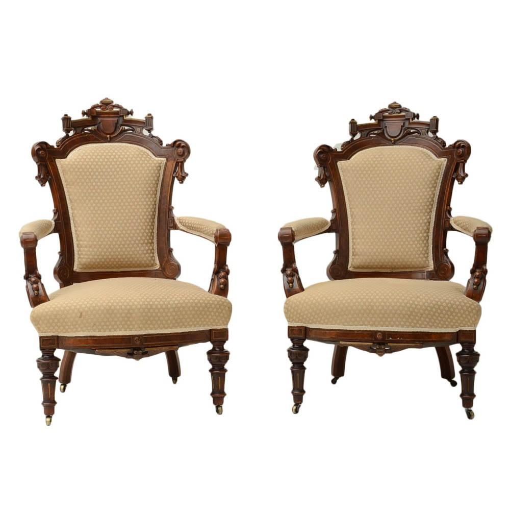 Pair of Antique Fine American Renaissance Revival Arm Chairs