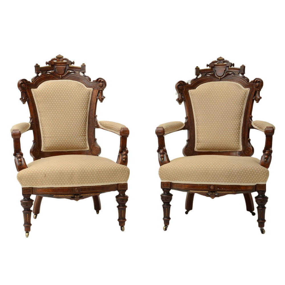 Pair of Antique Fine American Renaissance Revival Arm Chairs
