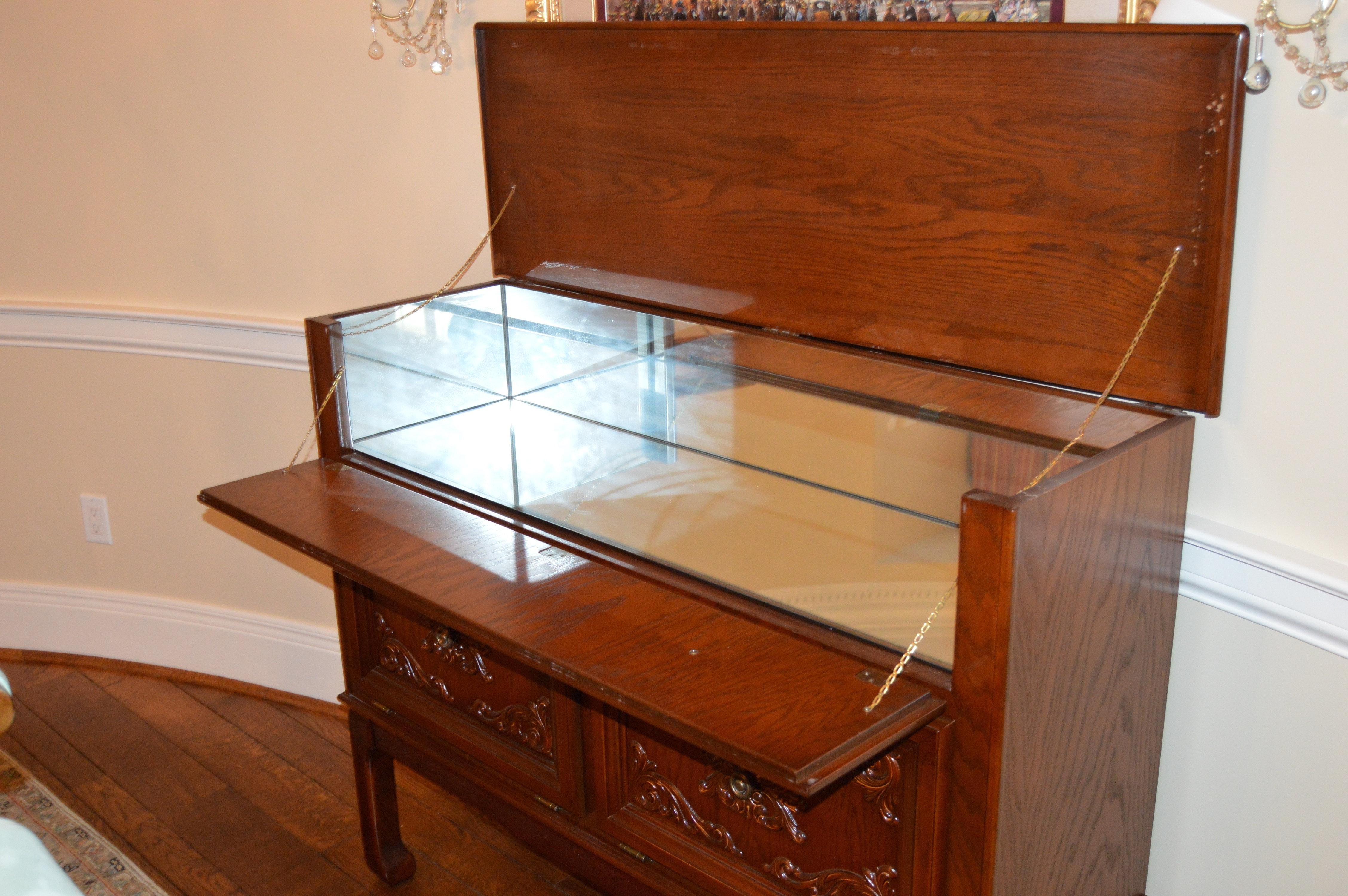 Vintage Oak Flip-Top Bar Cabinet