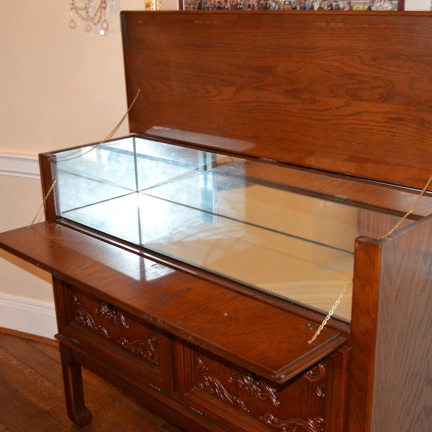 Vintage Oak Flip Top Bar Cabinet