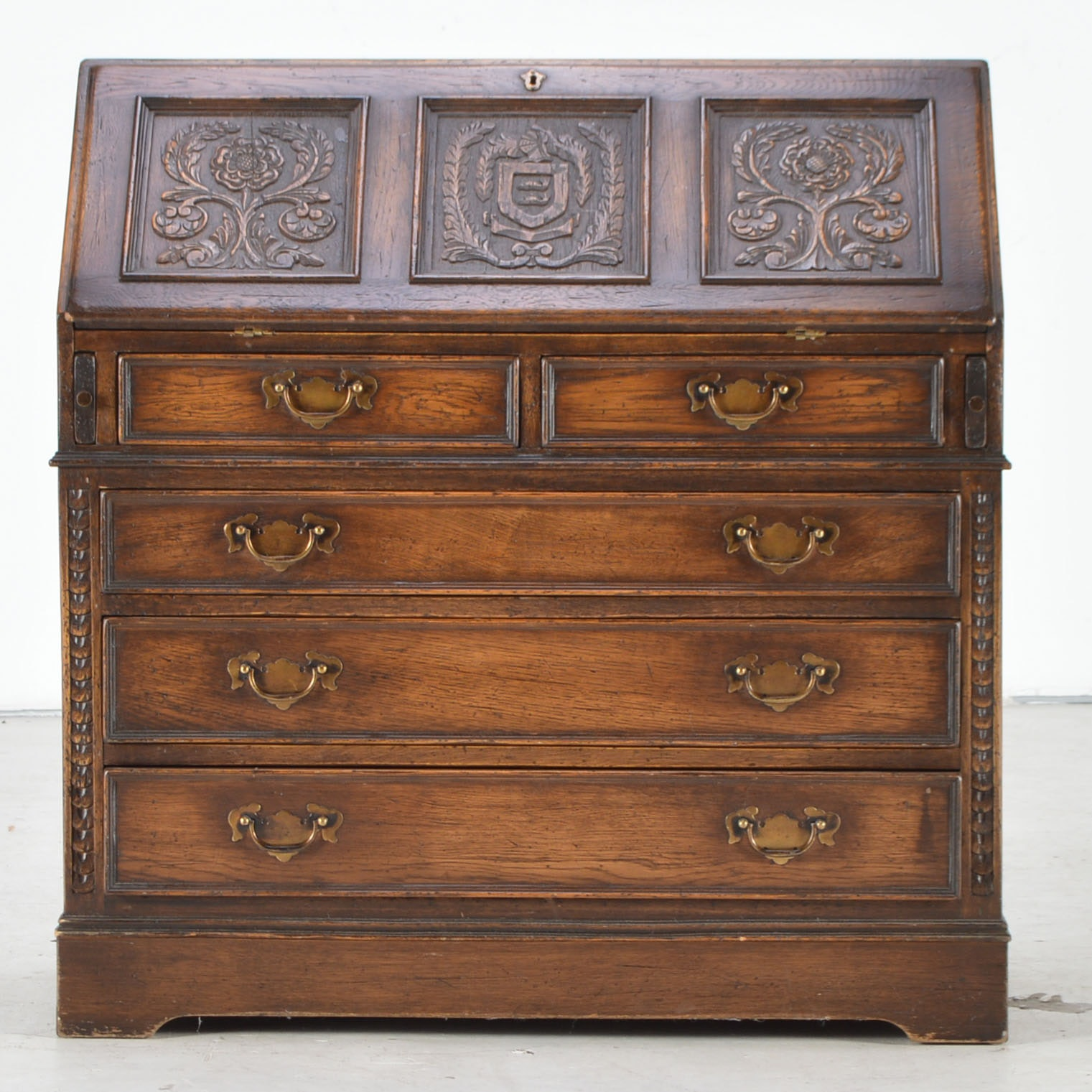 Carved Oak Secretary Desk With Dark Finish
